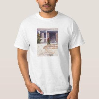 Patamar branco liso do savana do t-shirt camiseta