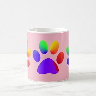 Patas animais coloridas arco-íris caneca de café