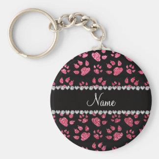 Patas cor-de-rosa fúcsia conhecidas personalizadas chaveiros