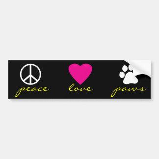 Patas do amor da paz adesivo para carro