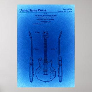Patente azul da guitarra da carroçaria da cavidade pôster