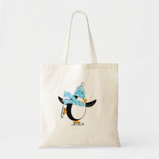 Patinagem no gelo do pinguim com o saco do chapéu  bolsa para compra