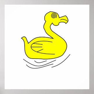 Pato amarelo dos desenhos animados pôsteres
