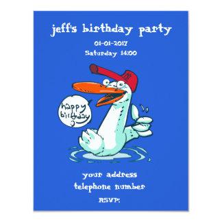 pato doce no feliz aniversario dos desenhos convite 10.79 x 13.97cm