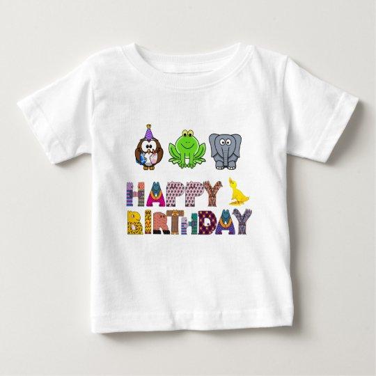 Pato lunático Brithday feliz do elefante do sapo Camiseta Para Bebê