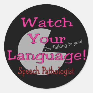 """Patologista de discurso """"relógio sua língua """" adesivos redondos"""