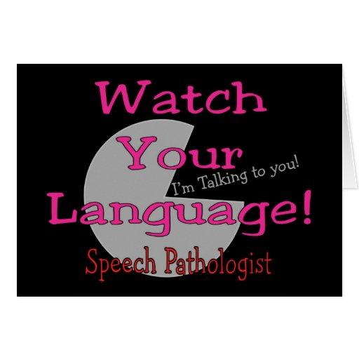 "Patologista de discurso ""relógio sua língua "" cartao"