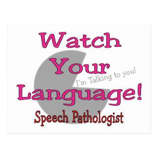 """Patologista de discurso """"relógio sua língua """" cartoes postais"""
