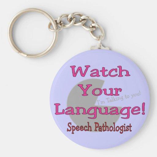 """Patologista de discurso """"relógio sua língua """" chaveiros"""