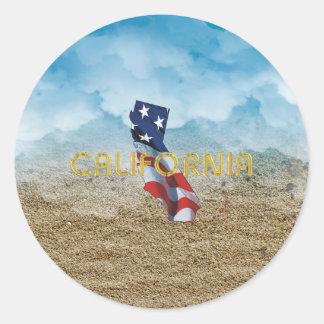 Patriota de Califórnia do T Adesivo Redondo