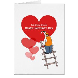 Patrocinador do dia dos namorados, corações vermel cartoes