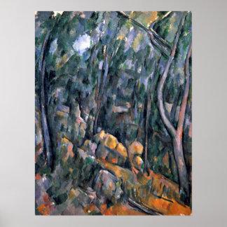 Paul Cezanne - floresta nas cavernas Pôster