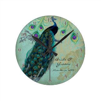 Pavão antigo & casamento personalizado gravura a á relógios para pendurar