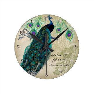 Pavão antigo & casamento personalizado gravura a á relógio para parede