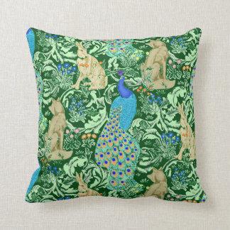 Pavão, azuis cobaltos & verde de Nouveau da arte Almofada