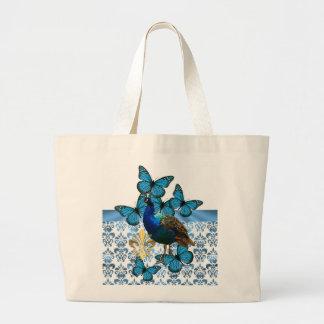 Pavão bonito e borboletas azuis sacola tote jumbo