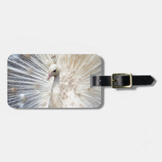Pavão branco etiqueta de mala