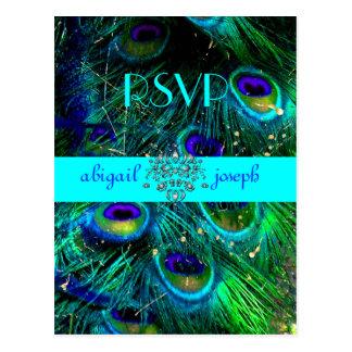 Pavão, cartão psicadélicos de RSVP Cartão Postal