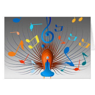 Pavão colorido das notas musicais cartoes