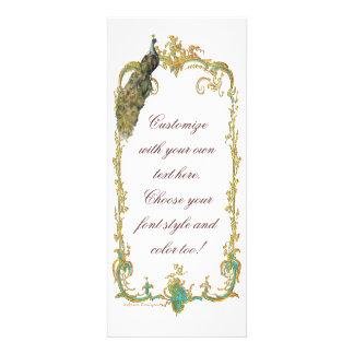 Pavão com o cartão barroco do convite do quadro do