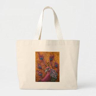 Pavão cor-de-rosa bolsa tote grande