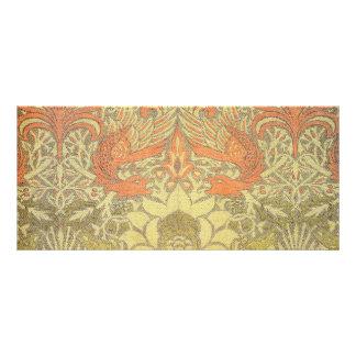Pavão de William Morris e teste padrão do dragão 10.16 X 22.86cm Panfleto