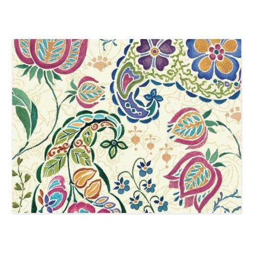 Pavão decorativo e flores coloridas cartão postal