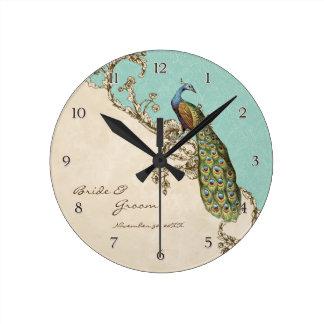 Pavão do vintage & casamento personalizado gravura relógios para paredes
