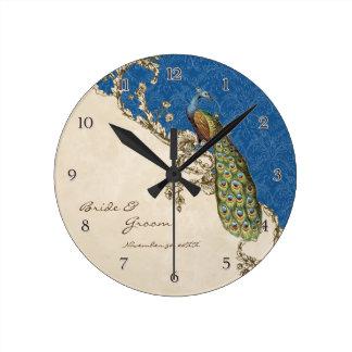 Pavão do vintage & casamento personalizado gravura relógios de paredes