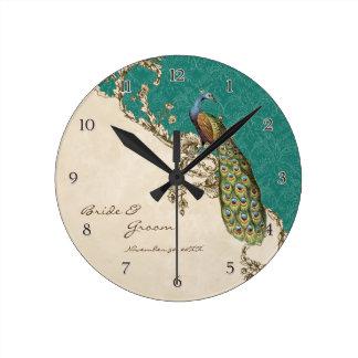 Pavão do vintage & casamento personalizado gravura relógios de pendurar