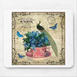 Pavão do vintage em um copo da arte da parede do mouse pad