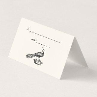 Pavão do vintage no marfim do cartão da escolta do