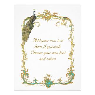 Pavão e artigos de papelaria dourados barrocos fra modelo de panfleto