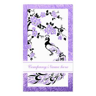 Pavão e flores de cerejeira pretos, roxos cartão de visita