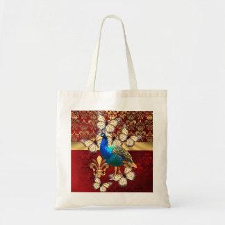 Pavão elegante borboletas damasco vermelho bolsa para compras