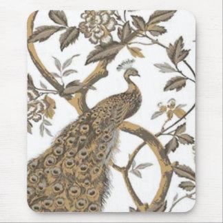 Pavão elegante no tapete do rato branco mouse pad
