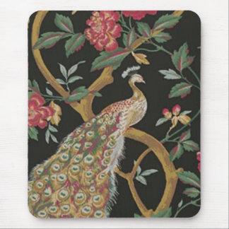 Pavão elegante no tapete do rato preto mouse pad