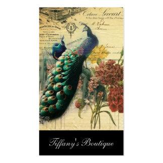 pavão feminino do vintage da flor da forma de cartão de visita