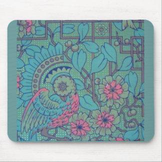 Pavão floral retro mousepads
