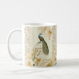 pavão francês do birdcage do vintage do lírio do caneca de café
