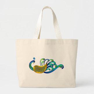 Pavão indiano bonito, abstrato e colorido sacola tote jumbo