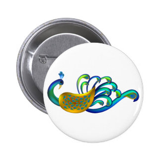 Pavão indiano bonito abstrato e colorido boton