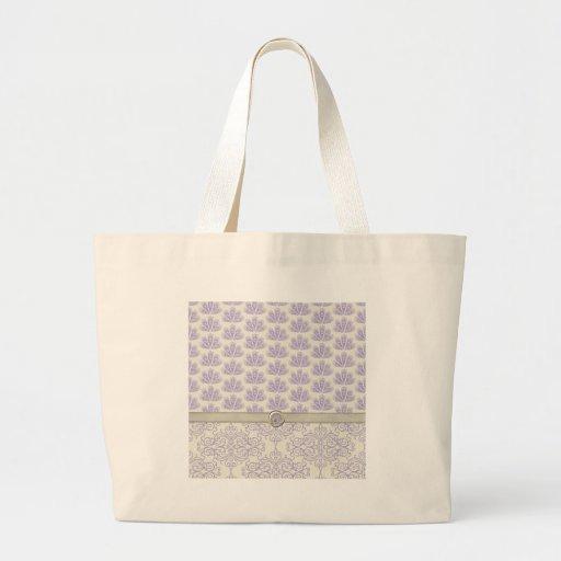 Pavão no impressão do damasco e do pavão, lavanda bolsas para compras