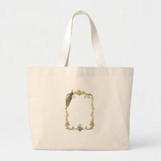 Pavão & ouro filigranas sacola tote jumbo