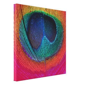 Pavão psicadélico de PixDezines, rosa quente, canv Impressão De Canvas Esticada