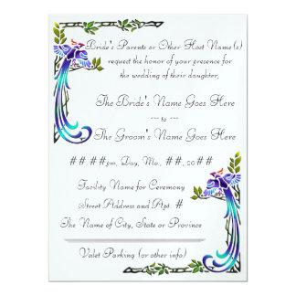 Pavões do artesão (convite metálico do casamento) convite 16.51 x 22.22cm