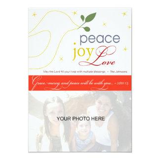 Paz, alegria, amor, cartão do feriado religioso convites personalizado