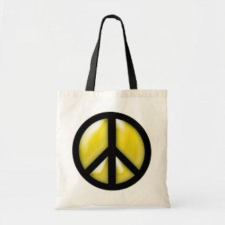 Paz amarela sacola tote budget