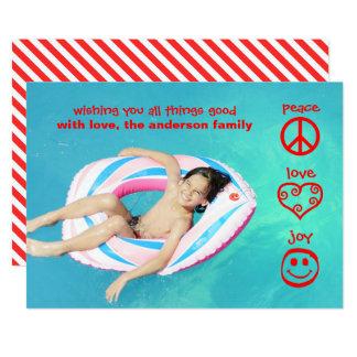 Paz, amor, alegria - cartão de Natal Convite 12.7 X 17.78cm