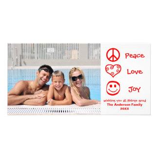 Paz, amor, alegria - cartões de fotos